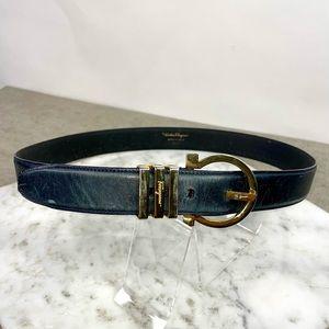 Salvatore Ferragamo Black Leather Gancini Belt